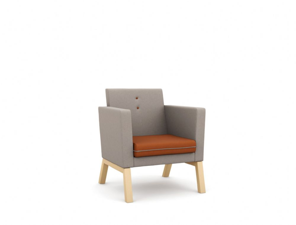 Pledge Me, Myself And I Upholstered Chair With Wooden 4 Leg Base, Medium Back
